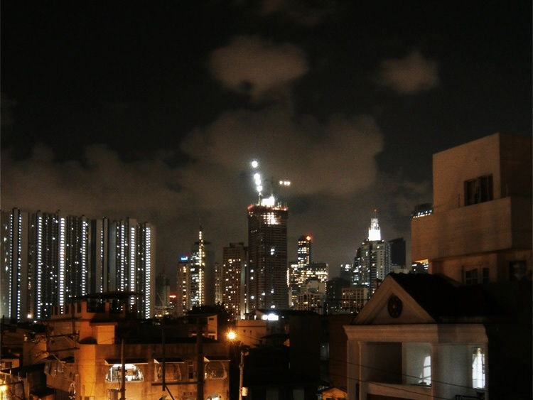 Skyline from peeking out our fire exit window