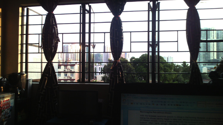 Writing while looking outside