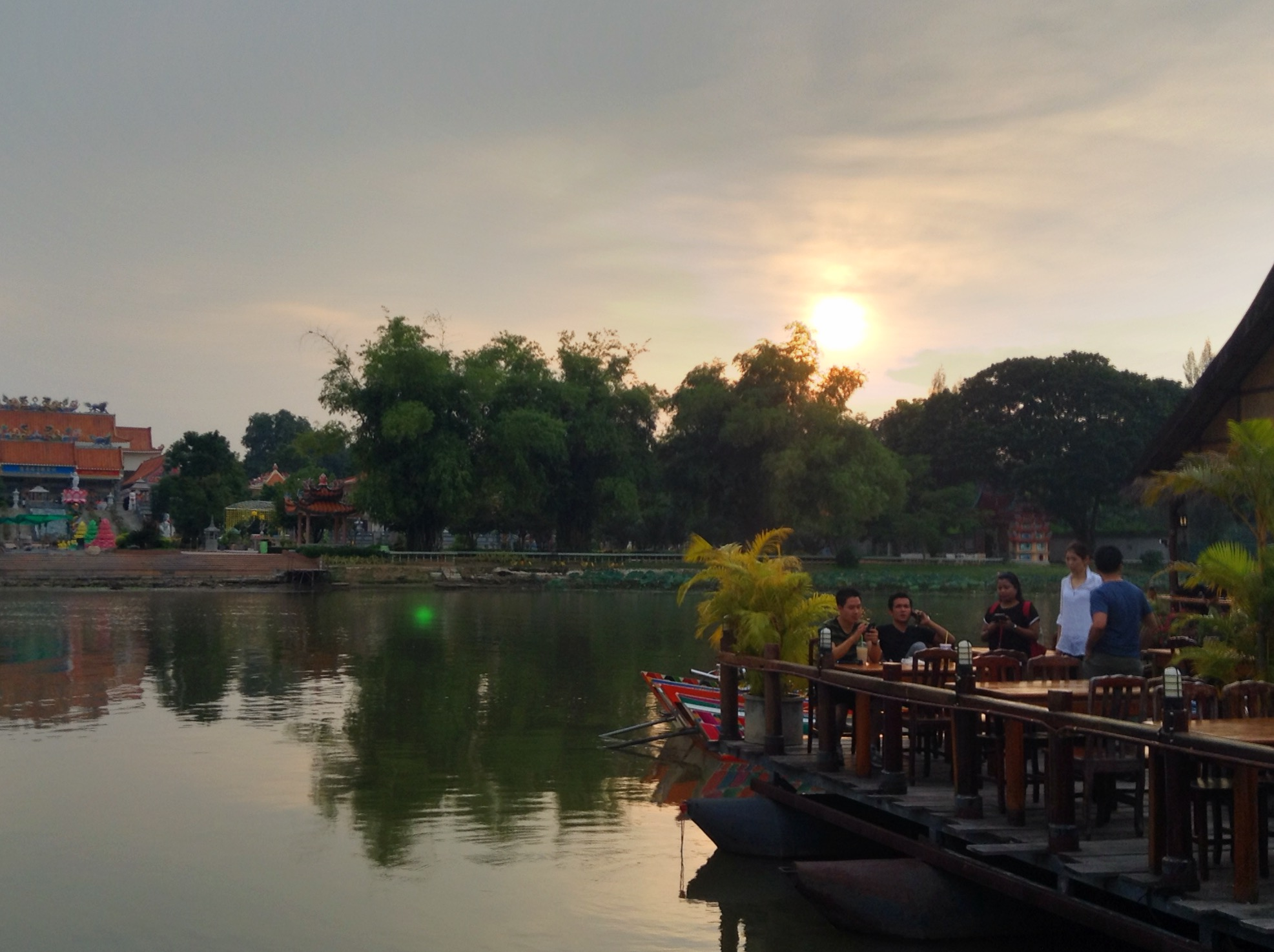 I love this shot of my colleagues with the Kanchanaburi sunset