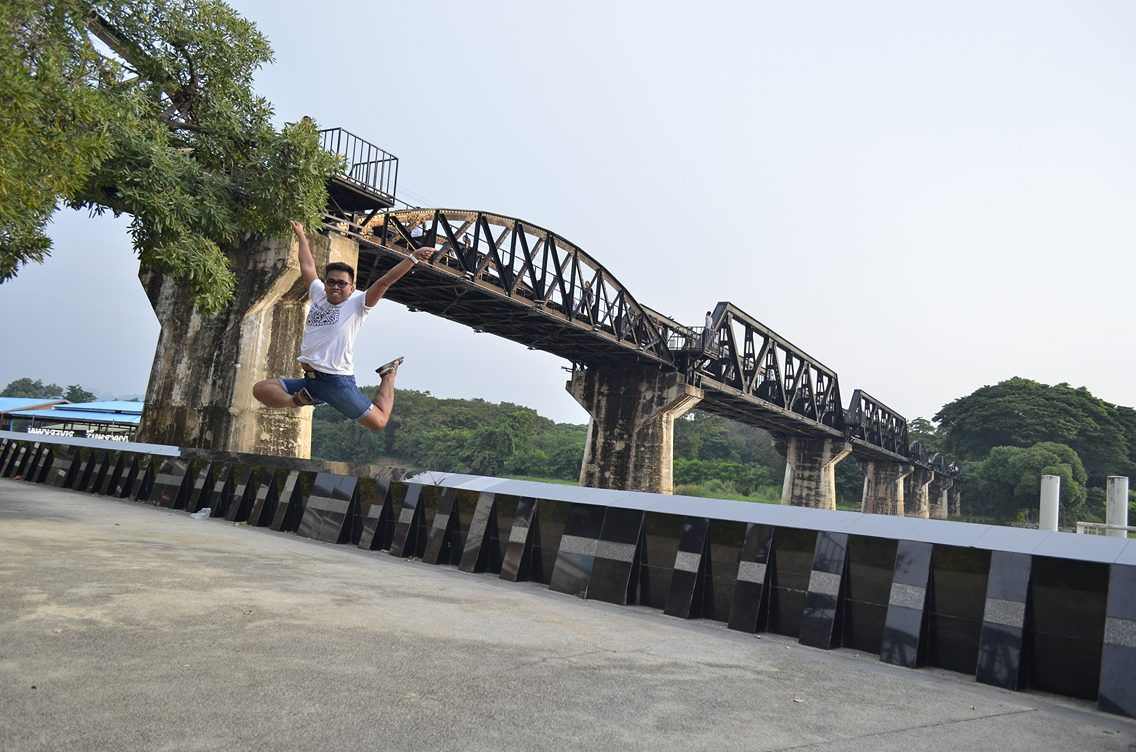 Jump shot with the bridge over River Kwai