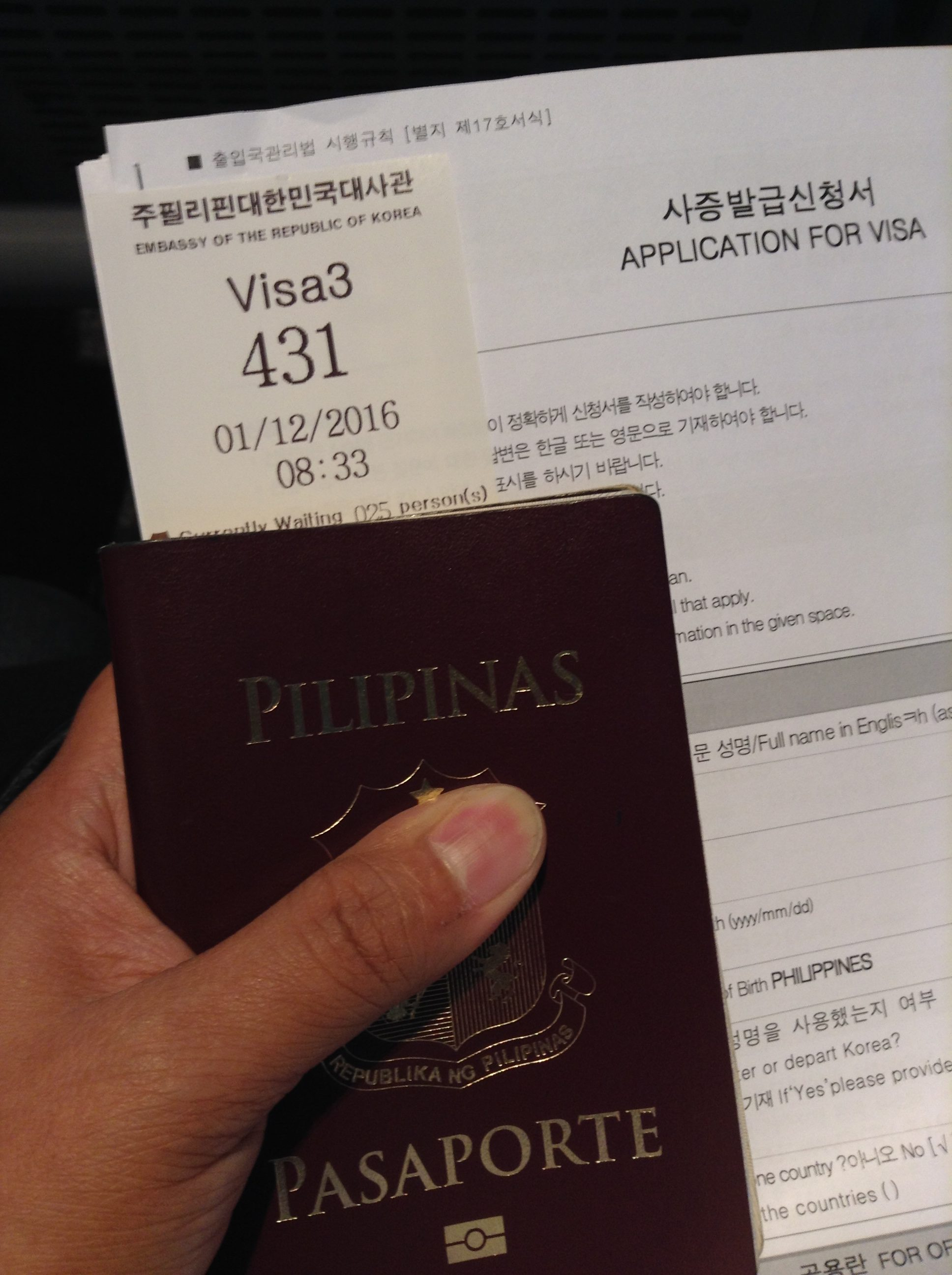 Waiting for my turn at Window 3 - Korean Embassy Philippines visa
