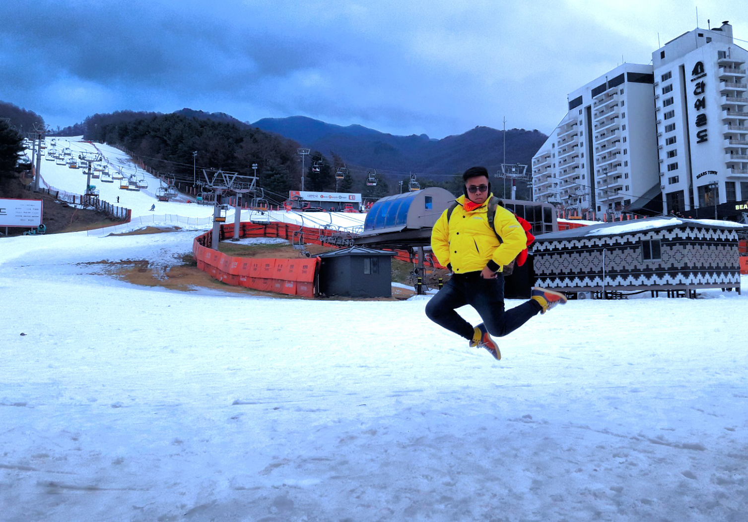 While I did this fabulous jump shot LOL - Hermes Astres et Soleils scarf, Timberland Yellow puffer jacket, Alexander McQueen for Puma colorblock sneakers