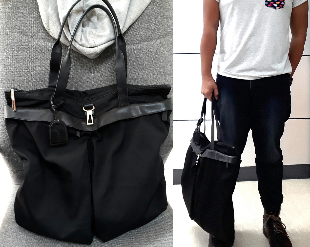 Gucci in black canvas and leather tote with silver hardware, Doc Martens 8-hole boots