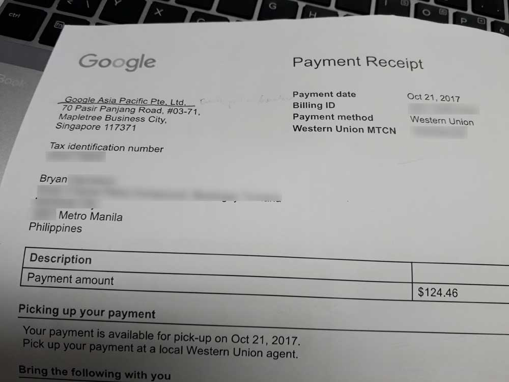 My first Google AdSense payout!
