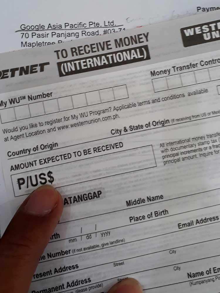 Western Union's 'Receive Money' form (International)
