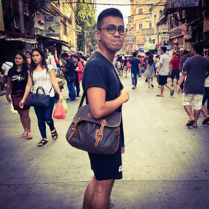 At the newly-cleaned Quiapo area ---- Mulberry Trout Scotchgrain Messenger Bag