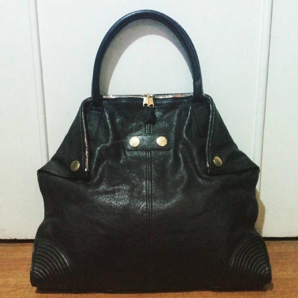 Black Alexander McQueen De Manta Leather Tote Bag