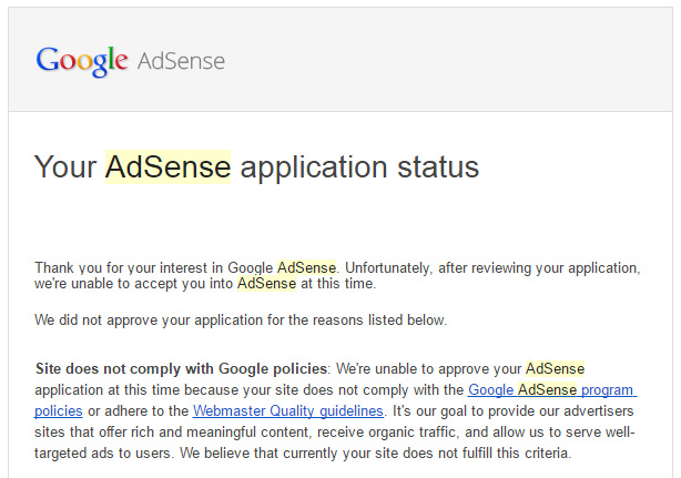 Google Adsense rejection email