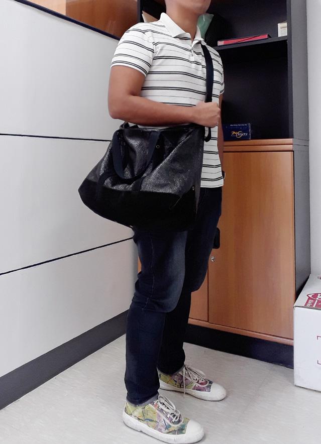 Uniqlo Stripes Polo Shirt, Yves Saint Laurent YSL Odeon Crushed Patent Bag, Comme des Garçons SHIRT Multicolor Sneakers
