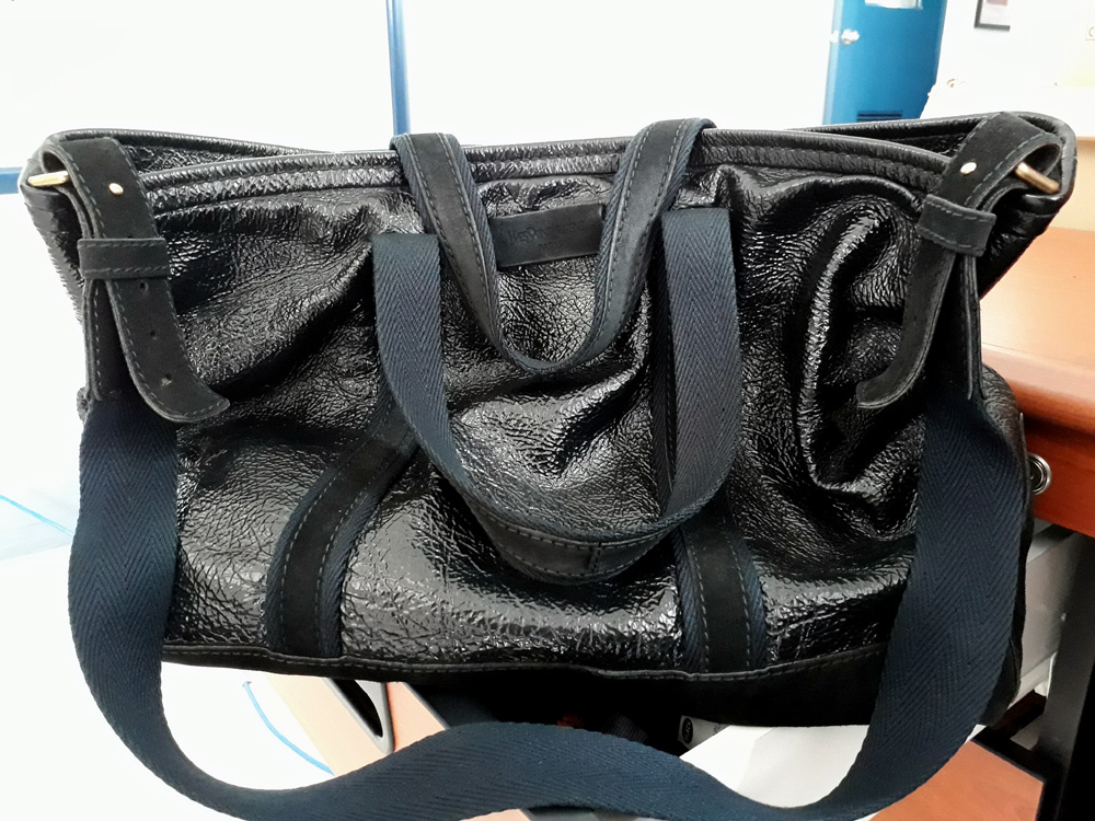 Yves Saint Laurent Odeon Crushed Patent Leather Bag YSL