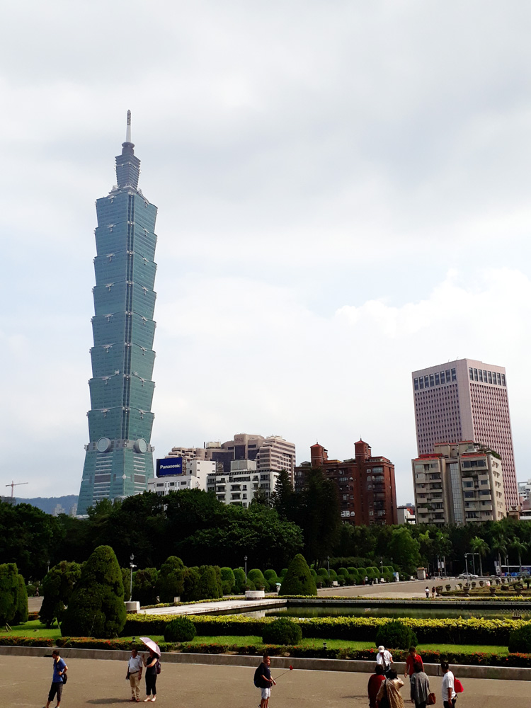 At the grounds of Sun Yat-Sen Memorial Hall, with Taipei 101 at the background