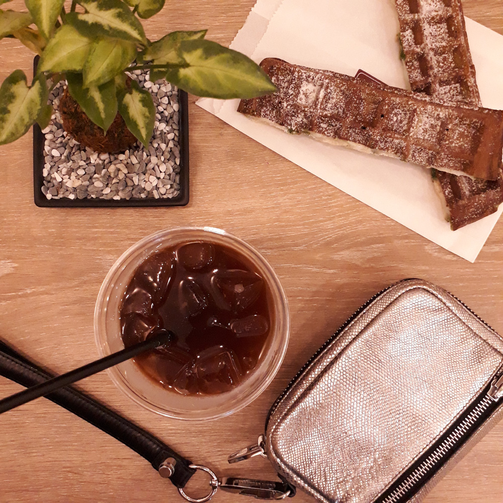 035 Another non-keto food --- matcha waffle with a coffee with GLITTERS - Alexander Wang SIlver Fumo Wristlet