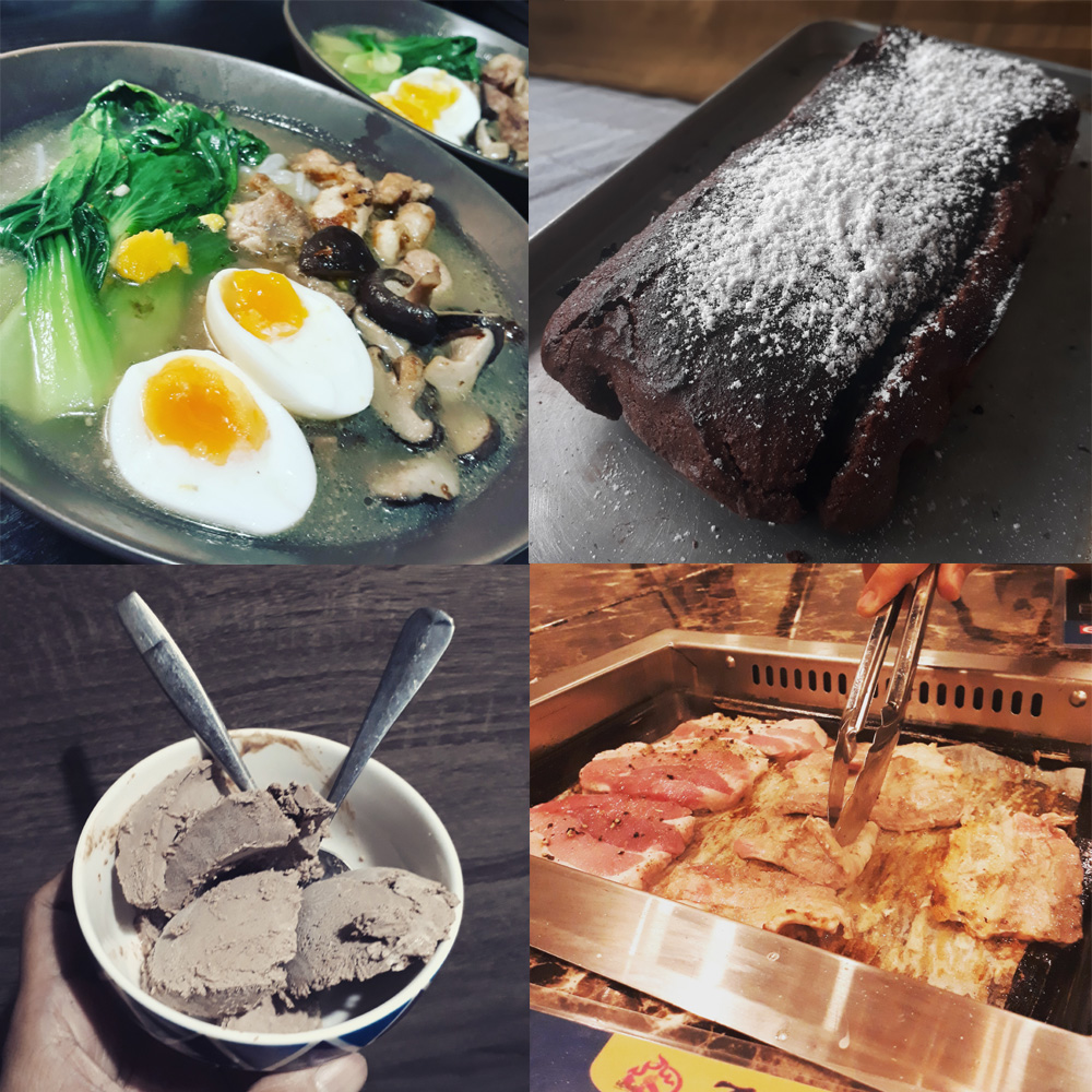 Keto goodies: shirataki ramen, low carb cake, homemade ice cream, and grilled pork belly