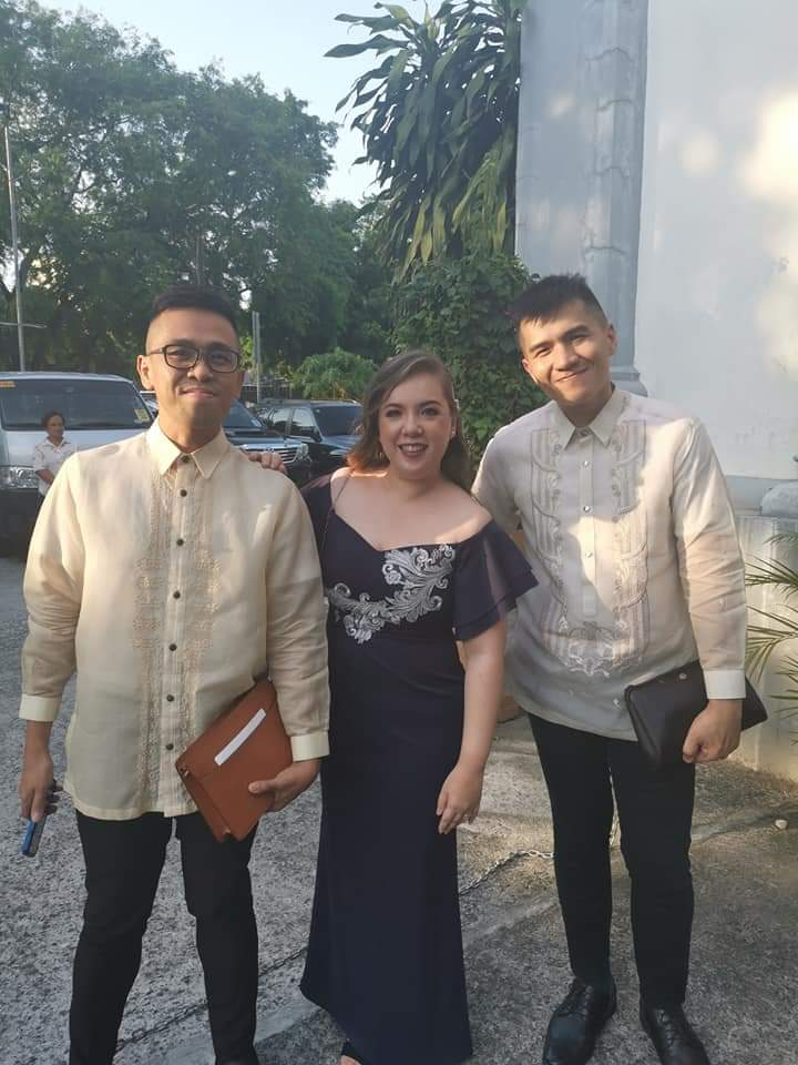 With our friend and ex-officemate, Ayen during Edward and Monette's wedding - Onesimus barong tagalog, Louis Vuitton Epi Leather Pochette Homme, vintage Christian Dior clutch